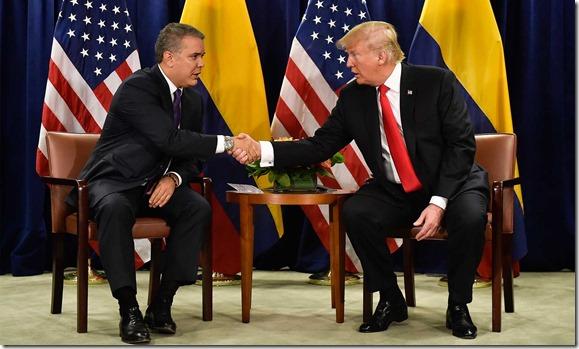 Crisis migratoria          y lucha contra las drogas ilícitas, entre  temas tratados          por los Presidentes de Colombia, Iván Duque, y  Estados          Unidos, Donald Trump, durante la reunión bilateral que           sostuvieron este martes en el marco de la Asamblea General de          la  ONU