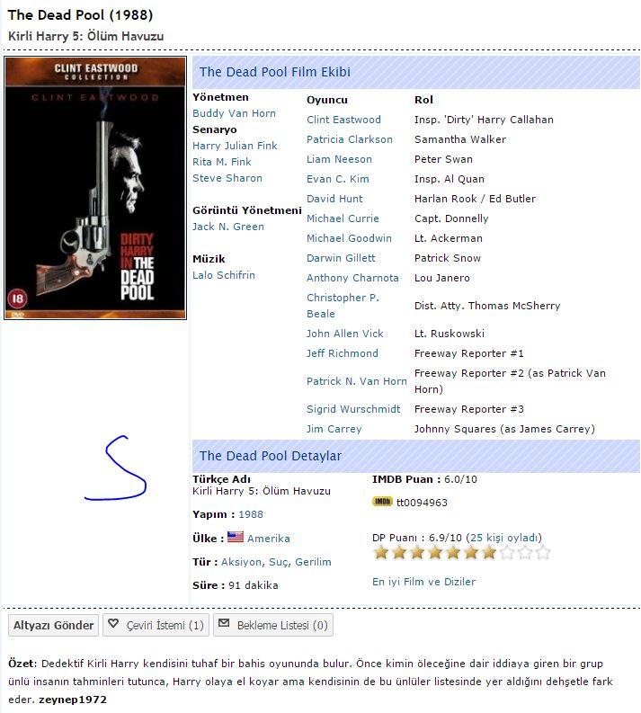 Kirli Harry 5: Ölüm Havuzu - 1988 Türkçe Dublaj 480p BRRip Tek Link indir