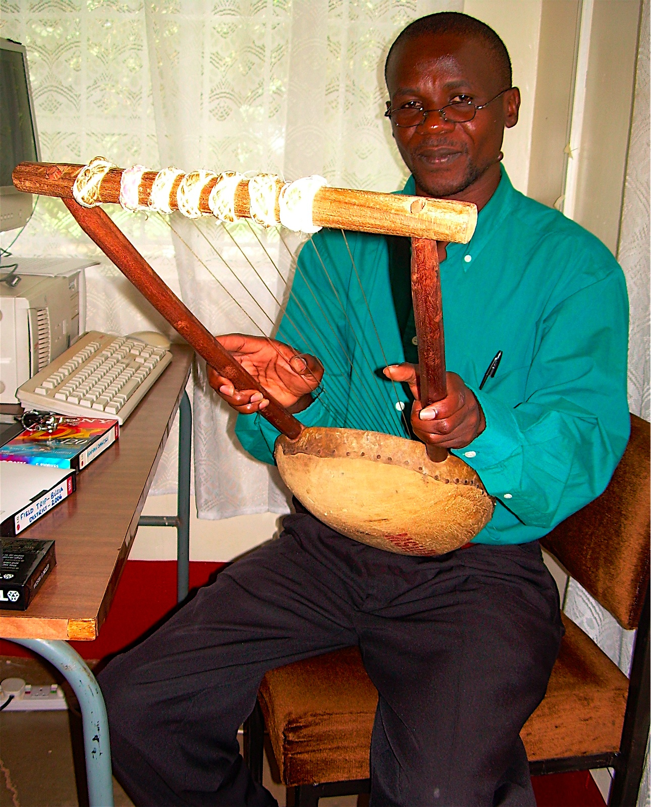 Photo: Another traditional instrument - a lyre called a litungu