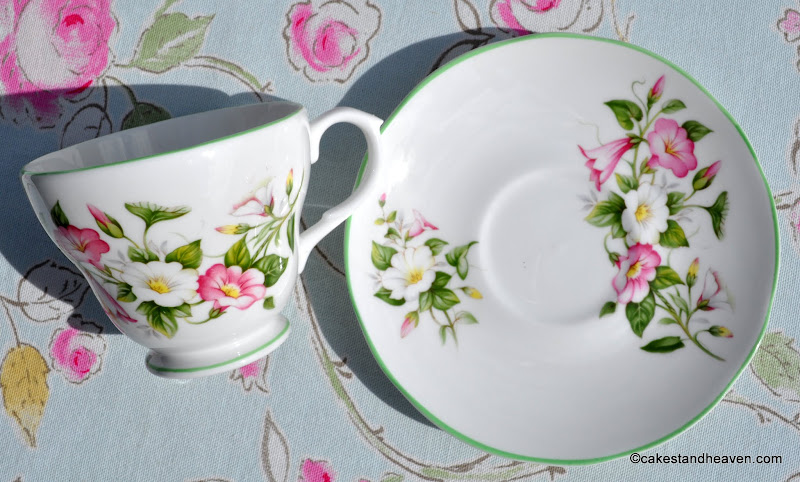 1960s English bone china Morning Glory pattern