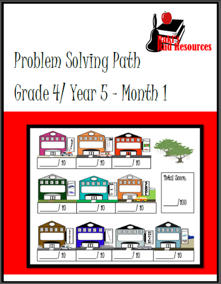 Free download - First monthly journal fo the fourth grade Problem Solving Path - real life problem solving problems in organizers which allow students to show their work and justify their thinking. From Raki's Rad Resources