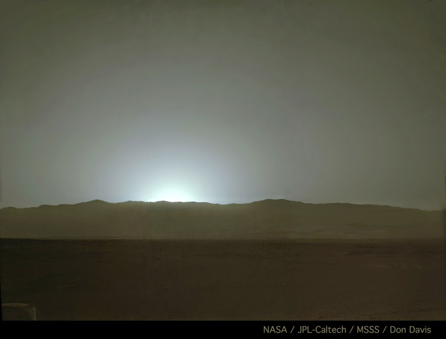 Sunset over Gale Crater on sol 587