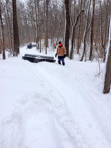 Working through big drift on Twin Lakes trail near Pete's Porkie