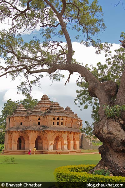 Lotus Mahal [Lotus Palace] and an old tree at Hampi