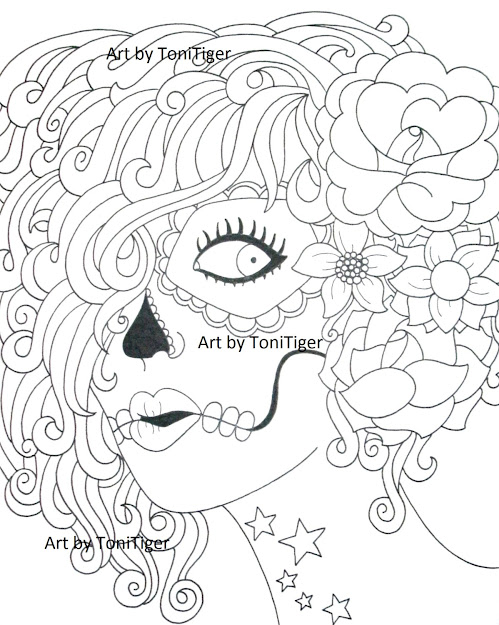 Instant Digital Download Coloring Page Sugar Skull Girl Original Day Of  The Dead Art