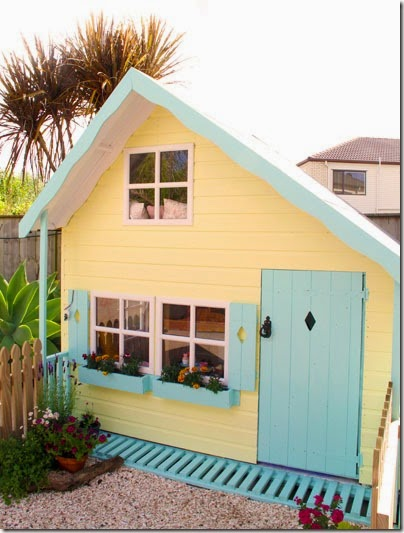 yellow and teal playhouse