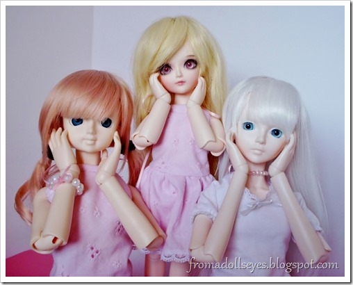 "Wordless Wednesday: ""Aren't They Cute?""  Three ball jointed dolls doing their cutesy pose."