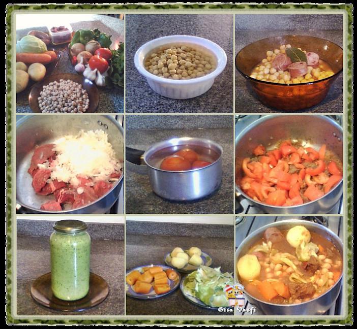 Grão de bico com legumes