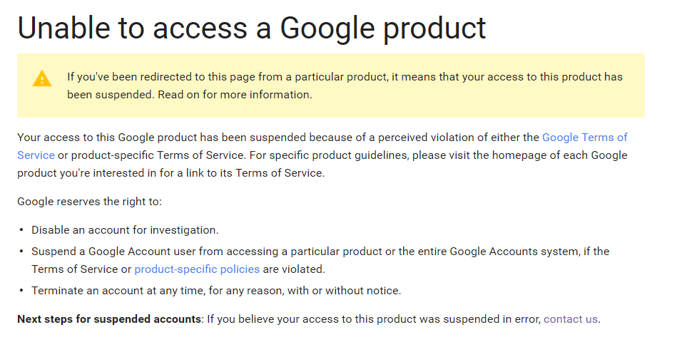 Unable To Access A Google Product Google Product Forums