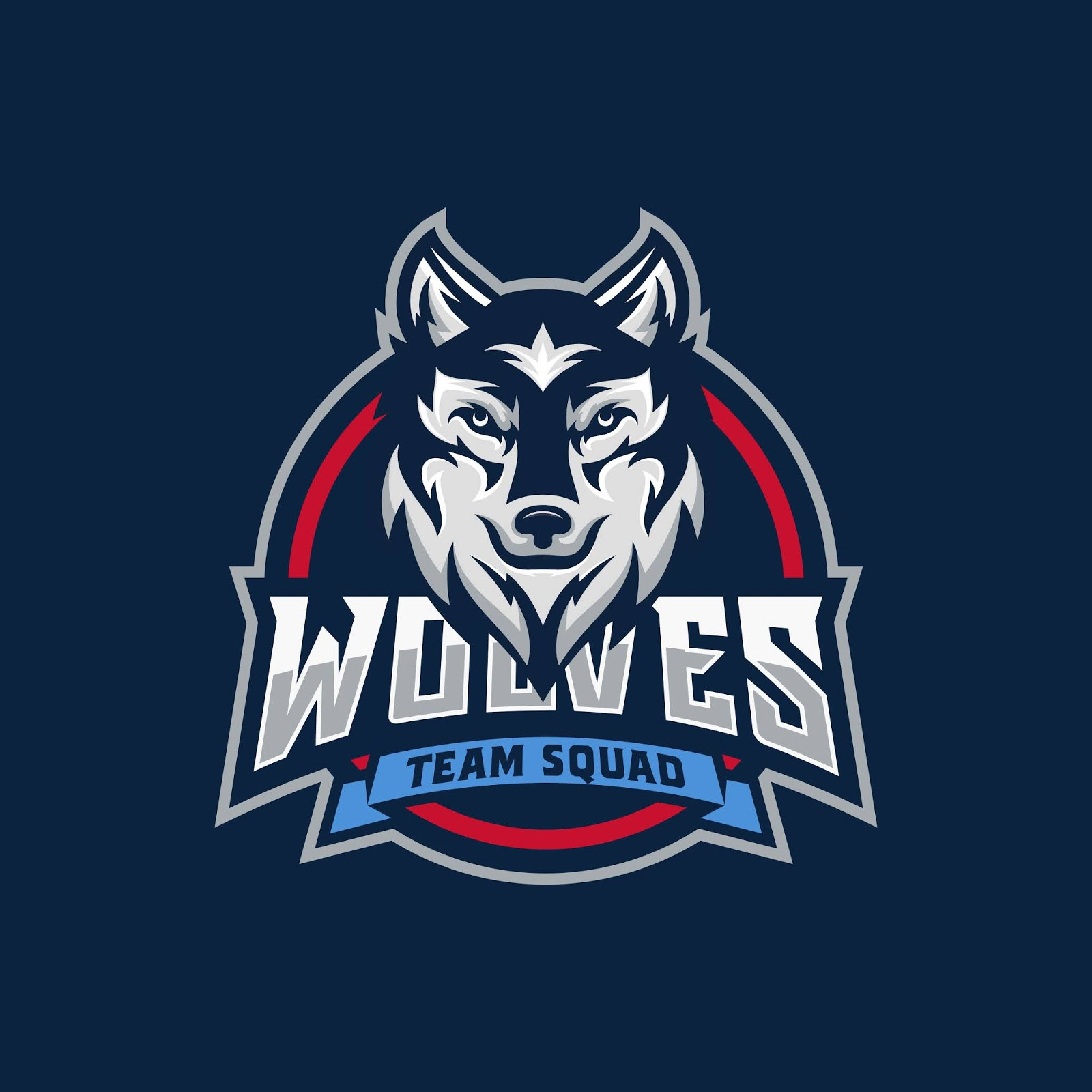 Wild Wolf Esport Mascot Free Download Vector CDR, AI, EPS and PNG Formats