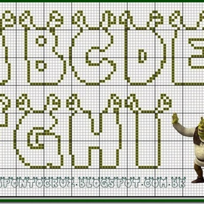 Gratis letras Shrek punto de cruz