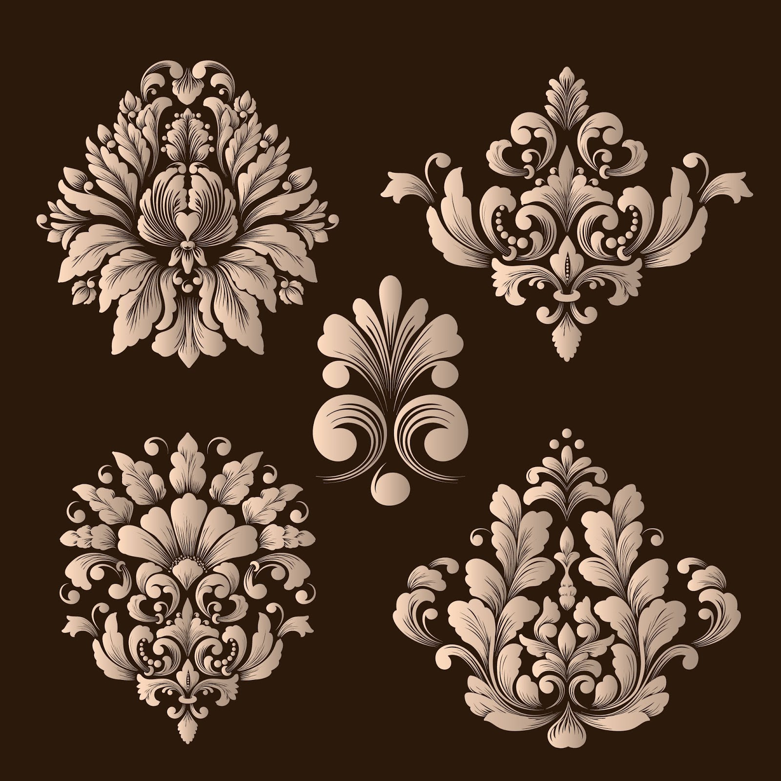 Vector Set Damask Ornamental Elements Free Download Vector CDR, AI, EPS and PNG Formats
