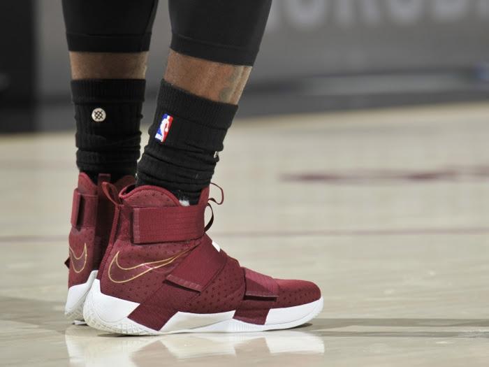 LBJ Laces Up Maroon Nike LeBron Soldier 10 in Win vs Celtics ...