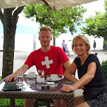 pitstop coffees with my mom in Lausanne, Switzerland in Gruyeres, Fribourg, Switzerland