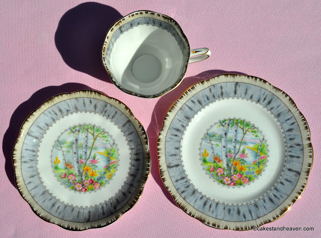 Royal Albert Silver Birch 1930s tea trio
