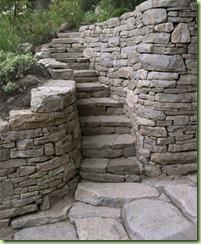 Slope rock stairway