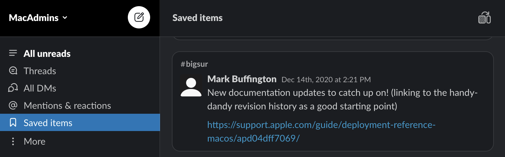 Screenshot of the Mac Admins Slack with a post linking recent Apple deployment reference documentation