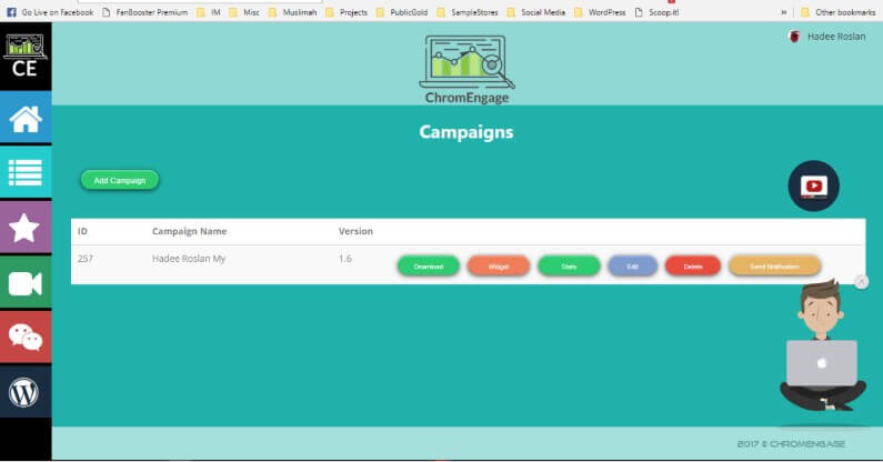 ChromEngage Campaigns Dashboard