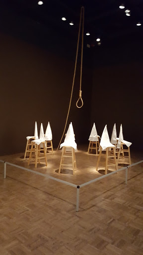 Duck, Duck, Noose, Gary Simmons, 1992, wood, cloth, metal, and hemp. Love, Change, and the Expression of Thought: 30 Americans at the Detroit Institute of Arts