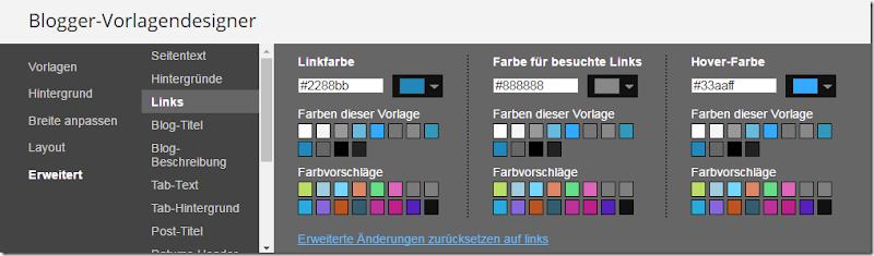 Blogger Link Farbe ändern