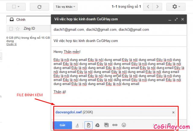 đính kèm tệp văn bản vào email để gửi