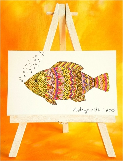 ICAD - Doodle Fish by Vintage with Laces