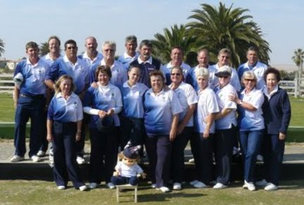 The guys and gals with mascot Chucky at Rossmund Bowling Club