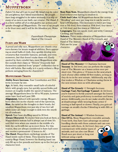 Muppetborn - homebrew Dungeons & Dragons rules let you add the Muppet race to your 5e campaign
