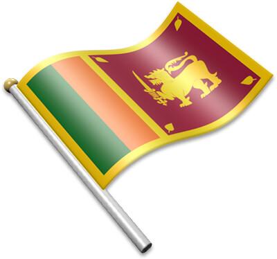 The Sri Lankan flag on a flagpole clipart image