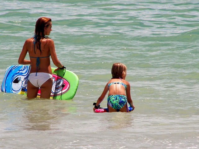 catching waves at Sanibel Island, Florida