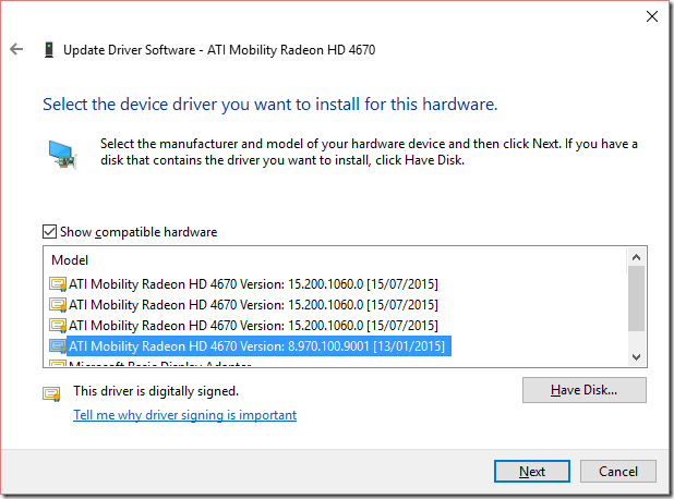 Update Driver Software dialog