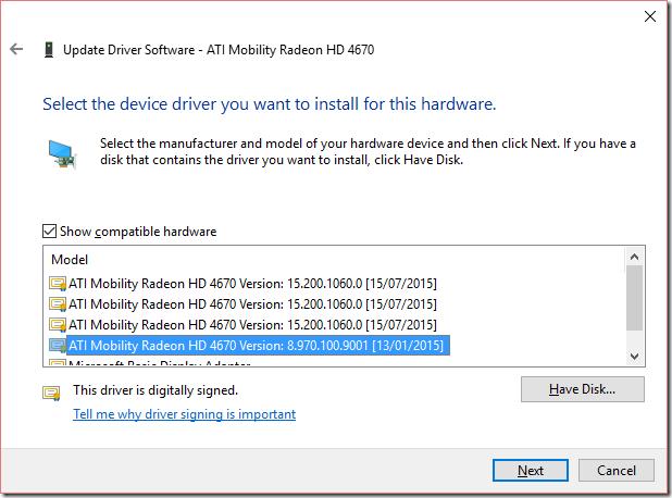 Update Driver Software dialog