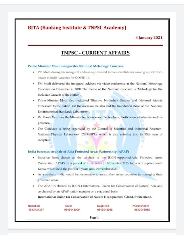 TNPSC Exam - Today Current  Affairs By BITA Academy ( 04 January  2021 )