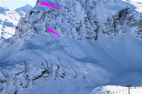 Avalanche Haute Tarentaise, secteur Bellevarde, Couloir des pisteurs - Photo 1 - © Presse Dauphiné Libéré