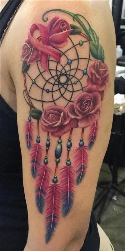 esta_inspiradora_rosa_e_cncer_de_fita_dreamcatcher_tatuagem