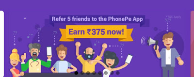 Phonepe App - Refer 5 friends & Get 375 Rs phonepe cashback (Bank money)