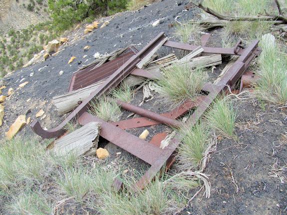 Broken mine car