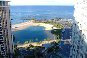 This is the view from my hotel room.  That's the Hilton lagoon in the middle, and the beach and ocean just beyond.