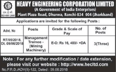 HEC Limited Advertisement 2018 indgovtjobs