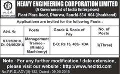 HEC Limited Advertisement 2018 indgovtjobs