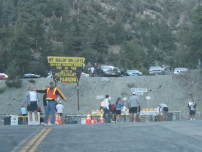 Photo: The starting line at the lower end of the Mt. Baldy Ski Lift parking lot, about an hour before the beginning of the 8:00 race.