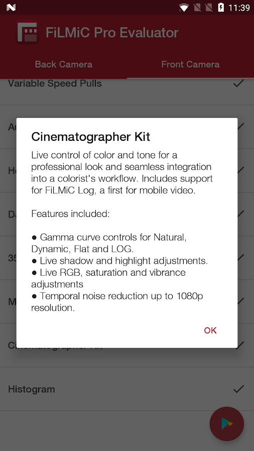FiLMiC Pro Evaluator- screenshot