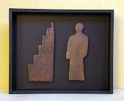 Recorte - 30x25x5 cm - Cerâmica em moldura