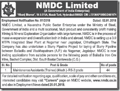 NMDC Limited Maintenance Assistants Notice 2018 www.indgovtjobs.in