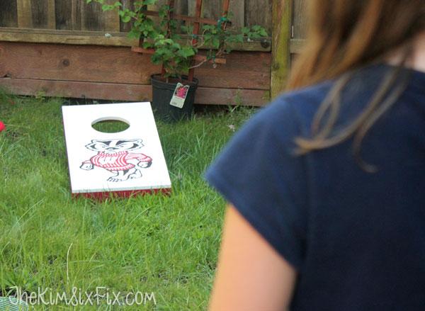 Playing bucky badger cornhole