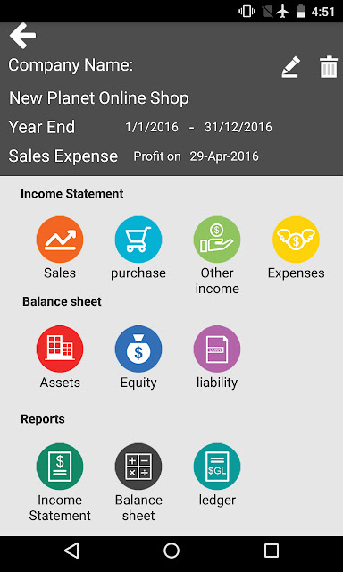 Main Page of Easy Count Finance App