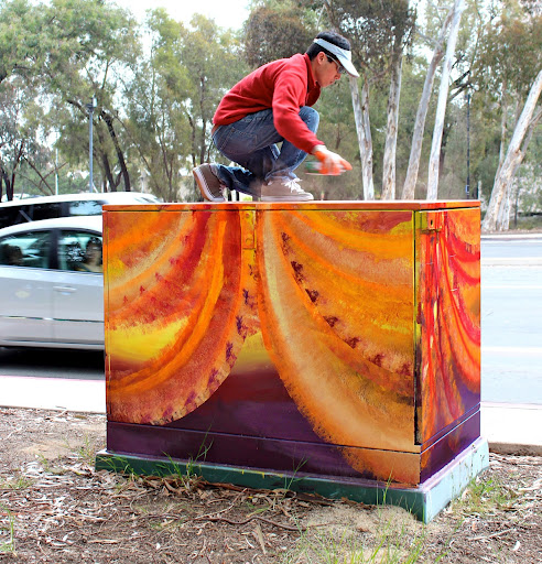 Victor Angelo Working Street Art Painting La Jolla Shores Drive Torrey Pines Road