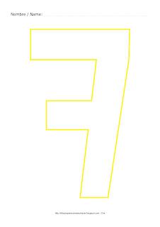 Lámina para colorear y pintar el número siete en color amarillo