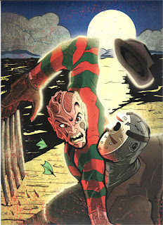 The concept for Freddy vs Jason was driven by fan-boy interest as far back as the original Nightmare on Elm Street. Fans speculated who would win in a throw down between Freddy and the Friday the 13th killer Jason Voorhees as exemplified by this great piece of fan art.