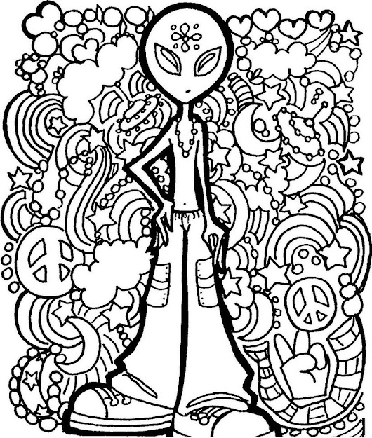 Trippy Doodle Alien Adult Coloring Pages Trippy